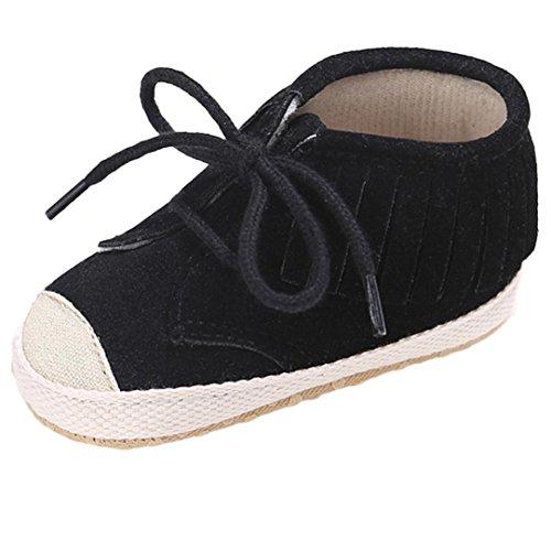 Babyschuhe Longra Baby-Verband-Quasten weiche Sohle Schuh weiche Schuhe Ebene-Schuhe Lauflernschuhe(0 ~ 18 Monate) Black