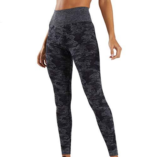 (Mackoo High Waisted Camo Seamless Leggings for Women Gym Capri High Elastic Tight Yoga Pants 7/14-Length for Girls Fitness Yoga Running Sports)