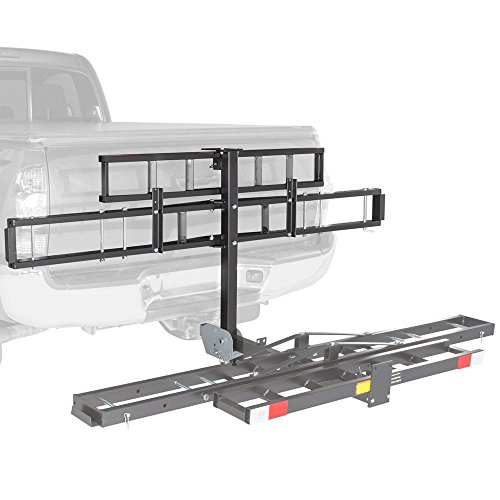 Black Widow Folding Hitch Mounted Off-Road Dirt Bike Carrier Rack with Ramp