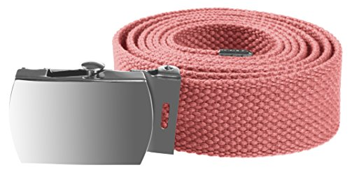 Enimay Kids Canvas Belt Woven Military Silver Roller Buckle Pink 30 Inch by Enimay (Image #1)