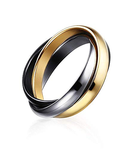 POVANDER Stainless Steel Triple 3 Tone Interlocked Trinity Russian Wedding Rings for (Three Tone Trinity Ring)