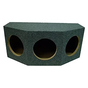 "ASC Triple 10"" Subwoofer 1"" MDF Sealed Universal Fit Rearfire Sub Box Speaker Enclosure"