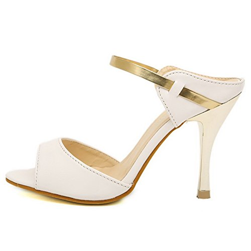 AalarDom Womens Pull-On Open-Toe PU Solid Sandals White-9cm mqLpiZLSu