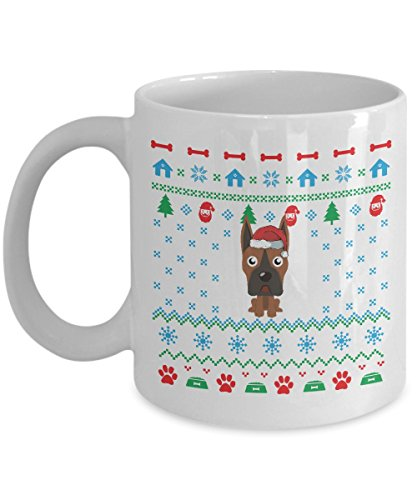 Boxer Dog Ugly Christmas Sweater Mug (White, 11 Oz) - Gifts for Boxer Dog Lovers Owners