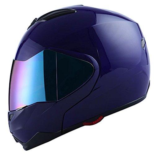 1Storm Motorcycle Street Bike Modular/Flip up Dual Visor/Sun Shield Full Face Helmet Glossy Blue -
