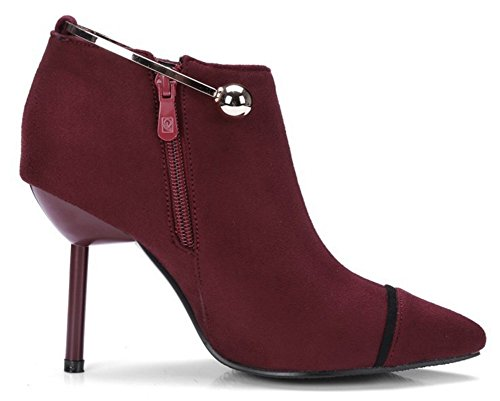 Heel Easemax High Faux Suede High Toe Boots Pointed Chic Red Zip Wine Ankle Stiletto Women's Wrap Up Ankle 4n7xw4qSv