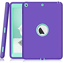 New iPad 9.7 Inch Case,New ipad 9.7 2017 case Darmor [Heavy Duty] [hybrid] PC+Silicon Hybrid Protective Three Layer Armor Defender Full Body Protective Case for New ipad 9.7 2017 Purple