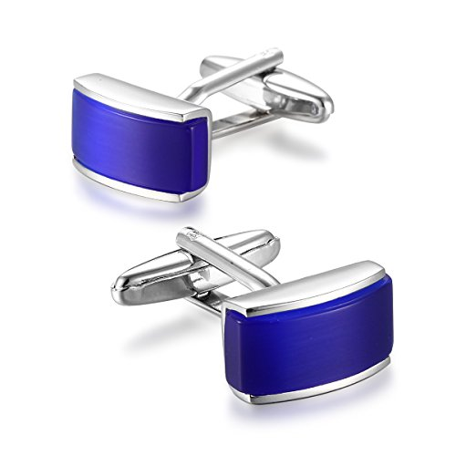 (Men's Rhodium Plated Cufflinks Silver Tone Blue Shirt Wedding Business with Natural Blue Onyx cuff links )