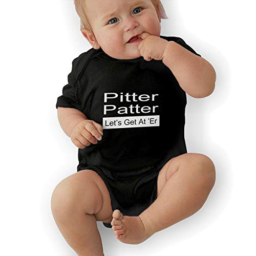 LOSPAPA Pitter Patter Lets Get at Er Baby Short Sleeve Romper Onesies Clothes for Infant Black