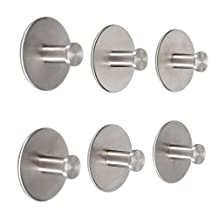 Angelbubbles Adhesive Hooks 6pcs/Pack 3M Sticker + FULL 304 Stainless Steel Hanger & Base (304 Stainless Steel)