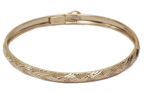 "10k Yellow Gold Kids bangle bracelet Flexible Round with Diamond Cut Design (0.12"") by SL Kids Collection"