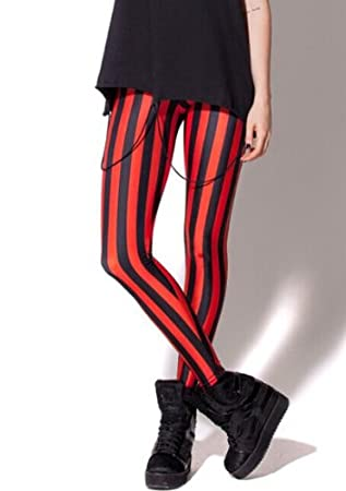 Amazon.com: Fashion Women's Digital Printing Red Black Striped ...