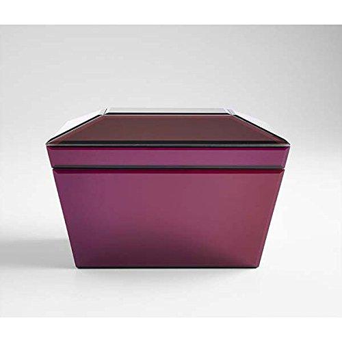 Zinc Decor Wood & Mirrored Glass Purple Jewelry Box Storage Chest