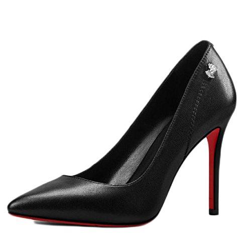 35 5cm Mariage Chaussures Chaussures Femme 9 Travail Noir De Strass Black Mode EU Court Sexy UK Nightclub Hauts Imperméables 3 Talons waPqwFU