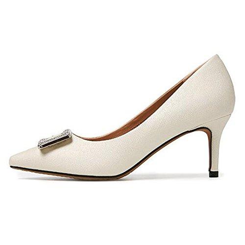 Mesdames Stiletto Talons Femmes Bout Pointu Escarpins Escarpins Classique Travail Formel Slip Confortable sur La Taille De La Chaussure Beige l1uJp26Vxq
