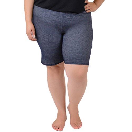 Stretch is Comfort Women's Teamwear Cotton Plus Size Bike Shorts Denim Blue 3X (Tights Denim Shorts)