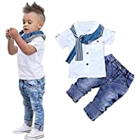 Kids Clothing Boys Casual Short Sleeved Shirt Denim Jeans Sets Outfits