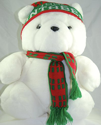 1986-dayton-hudson-marshall-fields-santabear-plush-christmas-bear-17-inches-knit-cap-scarf-oop-rare-