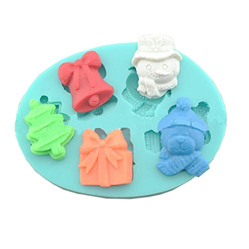 Viiart 3D DIY Silicone Mold Tray Christmas Tree Snowman Ring Bell Bear Shape Cake Candy Sugar Fondant Decorating Mold Clay Soap Making Mold Tools