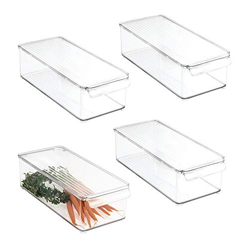 Storage Container Bin with Lid and Handle - for Kitchen, Pantry, Cabinet, Fridge/Freezer - Organizer for Snacks, Produce, Vegetables, Pasta - BPA Free, Food Safe - 4 Pack, Clear ()