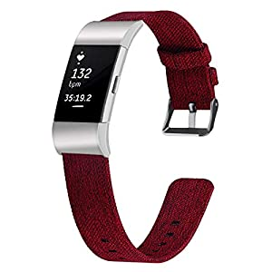Canvas Watch Band for Fitbit Charge 2 Replacement Fitbit Charge 2 Watch Strap for Women Men 5 Colors&Size L/S