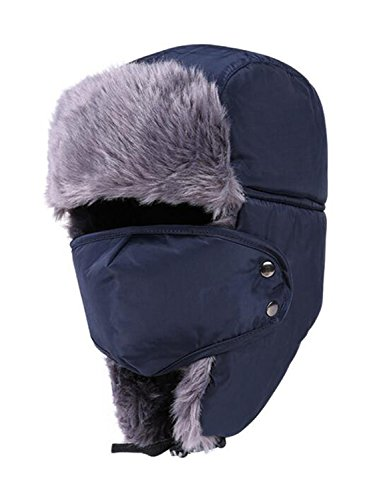 LITHER Unisex Winter Faux Fur Trooper Trapper Hat with Windproof Mask