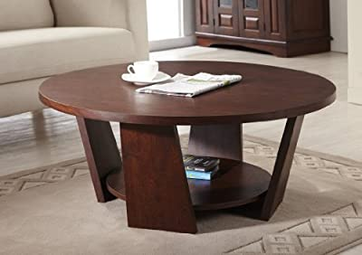ioHOMES 31-Inch Zoe Round Coffee Table, Large, Vintage Walnut