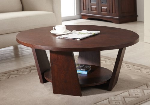 ioHOMES 31-Inch Zoe Round Coffee Table, Large, Vintage Walnut - Round Coffee Table: Amazon.com