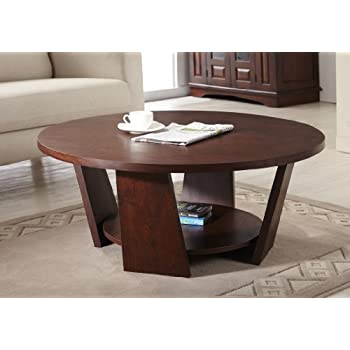 ioHOMES 31 Inch Zoe Round Coffee Table  Large  Vintage Walnut. Amazon com  Winsome Wood Toby Coffee Table  Kitchen   Dining