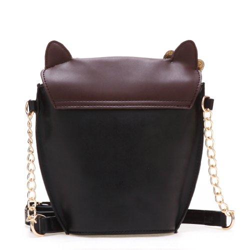 Leegoal Accessorize Black Crossbody Owl Shoulder Bag