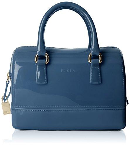 (Furla Women's Candy Cookie S Satchel Bowling Bag Blue (Dolomia))