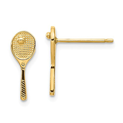 14k Yellow Gold Mini Tennis Racquet Ball Post Stud Earrings Button Sport Fine Jewelry Gifts For Women For Her ()