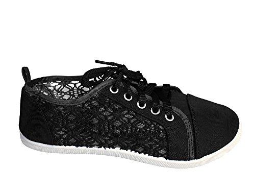 Peach Couture Chaussures De Sport Baller Casual Pour Femmes Lacets Toile Denim Chaussures Noir