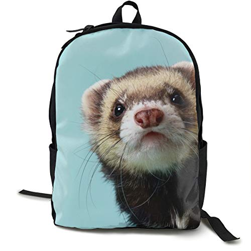 School Backpack Alphabetical Ferret 3D Adult Outdoor Leisure Sports -