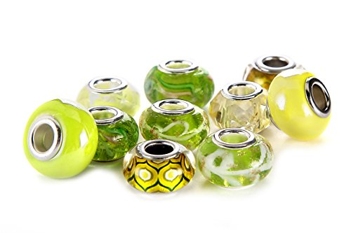 BRCbeads Top Quality 10Pcs Mix Silver Plate YELLOW THEME Murano Lampwork European Glass Crystal Charms Beads Spacers Fit Troll Chamilia Carlo Biagi Zable Snake Chain Charm Bracelets. ()