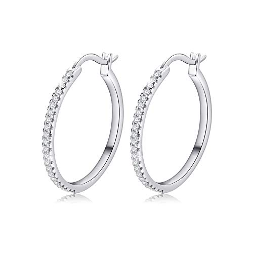 Mother's Day Gifts Sterling Silver Hoop Earrings Small Hoops CZ Hoop Earrings for Women (CZ Hoop Earrings)