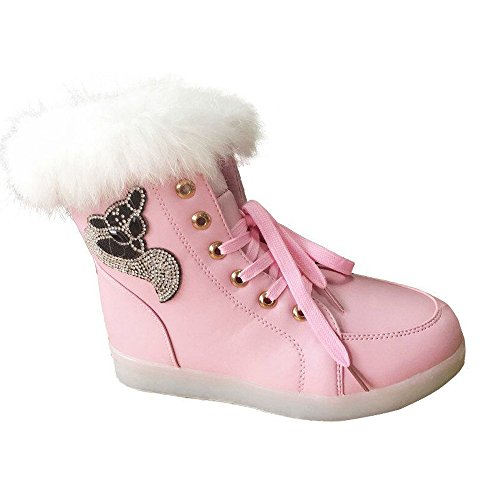 Gifts Lace Boots Birthday Lined Faux Flashing Boots Sneakers Flat Fur Womens Ankle Pink Xmas Led Up Winter Z6qSntwFw