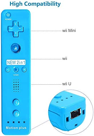 CooleedTEK Wii Remote Controller, Remote Plus Controller and Nunchuk Controller for Nintendo Wii and Wii U, with Silicon Case (Blue) 5