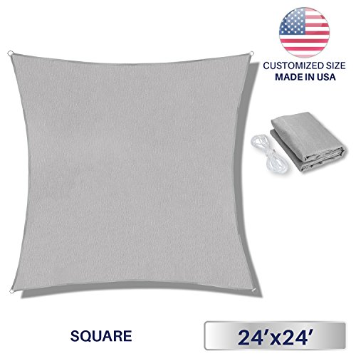 Windscreen4less 24' x 24' Sun Shade Sail Rectangle Canopy in Light Grey with Commercial Grade (3 Year Warranty) Customized Sizes by Windscreen4less