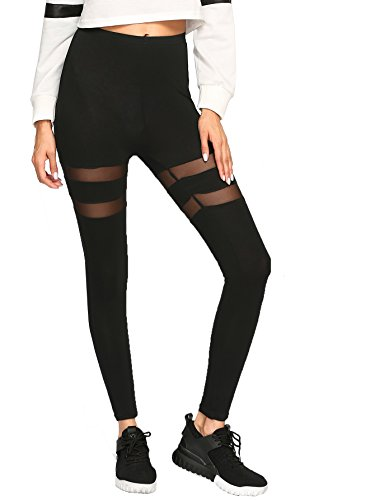 SweatyRocks Women's Mesh Panel Side High Waist Leggings Skinny Workout Yoga Pants Black - Mesh Skinny