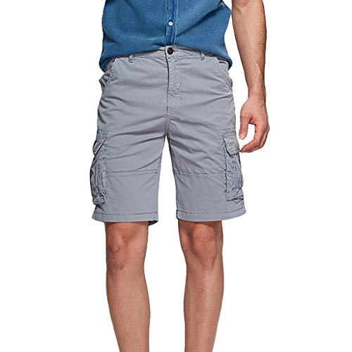 Pengy Men's Combat Pants Many Pockets Causal Trouser & Cargo Shorts Classic Relaxed Fit Short Gray