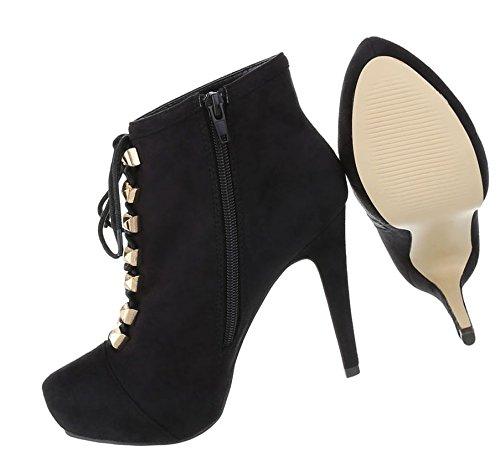Luxus Schnürstiefelette | Stiletto Heels Pumps | Ankle Boots | Damenschuhe Stiefeletten | Velour-Leder-Optik Booties | Hosenstiefel | Schuhcity24 Schwarz