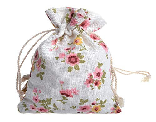 - 25 Pack Gift Bags with Drawstring 4.9x6.8 | Medium Flower Print Gift Burlap Sacks | Cute Linen Floral Jewelry Pouches Craft Storage | Cute Wedding Party Favors Packing | Makeup Organizer Bag