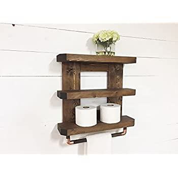 Amazon.com: Rustic Wooden Bathroom Shelf & Towel Rack / Rod by ...