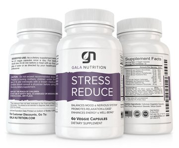 Stress Reduce Anti Anxiety Supplement by Gala Nutrition - Relax and Keep Calm - Herbal Blend with Biotin, 5-HTP, Valerian, Lutein, Vitamins B1 B2 B5 B6, St. Johns Wort, L-Theanine, Ashwagandha & More