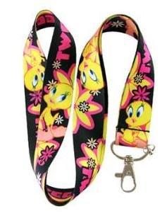 New Tweety Bird Black with Pink Flower Lanyard Keychain Holder ()