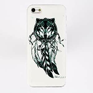 Fashion Dreamcatcher Wolf Feather Pattern Plastic Hard Case for iPhone 5/5S , Multicolor
