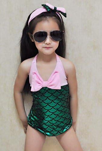 Little Girls 2pcs Swimmable one Piece Mermaid Princess Toddler Bikini Swim Bathing