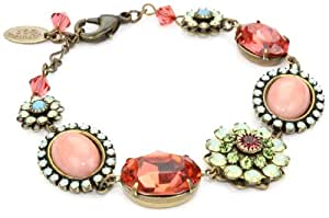 "Liz Palacios ""Crystales Opalos"" Multi-Flower Crystal and Cabochon Chain Bracelet, 8"""