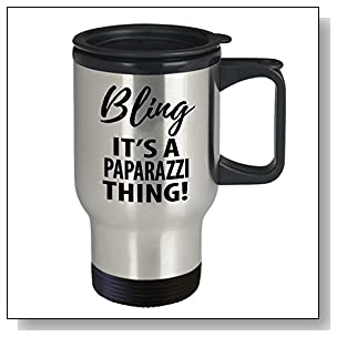 Paparazzi Coffee Travel Mug - Professional Paparazzi Gifts For Men And Women - Photography Related Gifts - Bling It's A Paparazzy Thing (14 oz)